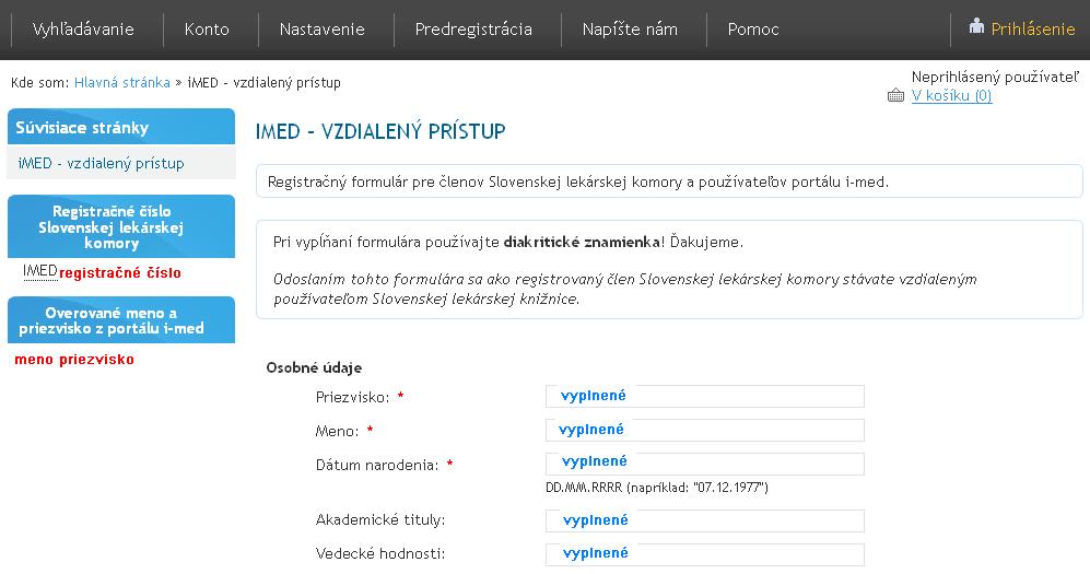 Registračný formulár